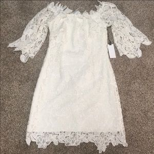 ASTR Lace Off the Shoulder White Dress
